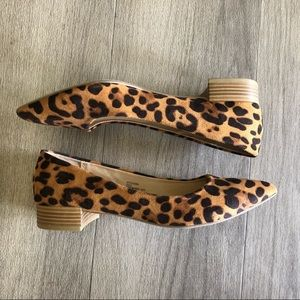 Animal print pointy toe flats